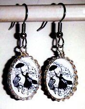 Damen Ohrringe Musik Mary Poppins Hänger Oval Ohrschmuck Modeschmuck Glas Weiß