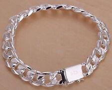 925 Sterling Silver Bracelet Bangle Mens 10mm Stylish Link Chain w GiftPkg D9481
