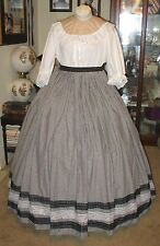 CIVIL WAR DRESS~VICTORIAN STYLE LOVELY 100% COTTON BLACK & WHITE GINGHAM SKIRT