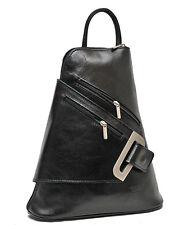 Jolie Sac à dos cuir veritable noir NEUF Fabrique en Italie Backpack Rucksack