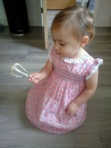 Baby Girls M&Co Dashing & Dainty White Dress with pink flowers, 18-24 Months