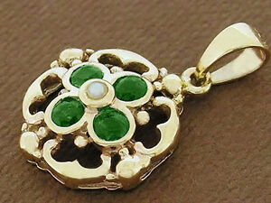 PE024- Lovely Genuine  SOLID 9ct Gold NATURAL Emerald & Pearl DROP Pendant