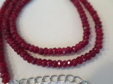 NATURAL RED RUBY FACETED ROUNDEL GEMSTONE NECKLACE, 925 STERLING SILVER CLASP