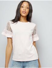 New Look Pink Lace Sleeve T-shirt Summer Top 6 rrp £14.99 BNWT