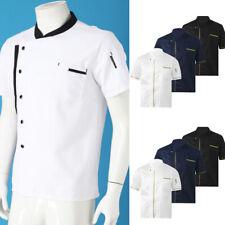 Mens Chef Jacket Coat Uniform Kitchen Short Sleeve Jackets Work Cook Kitchen Top