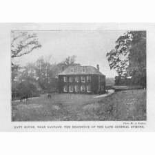 CORNWALL Hatt House near Saltash - Antique Print 1899