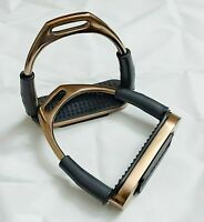 GLOSS ROSE GOLD SAFETY FLEXI STIRRUPS HORSE RIDING S/STEEL WITH BLACK TREADS