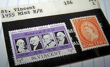 ST. VINCENT 1955 STAMP SET  #186 PLUS INDEPENDENCE STAMP MNH LOT 5