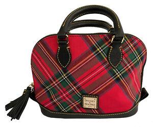 DOONEY & BOURKE Red Tartan Plaid Bitsy Bag Zip Satchel Crossbody Strap NWOT