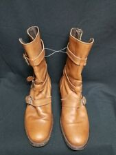 Womens J. CREW Camel Brown Buckle Leather Boots Size 9