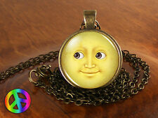 Emoji Face Smile Yellow Moon Geek Geeky Nerd Necklace Pendant Jewelry Charm Gift