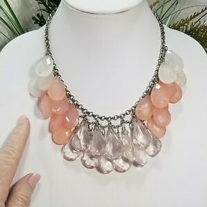 Vintage NEW YORK Peach, Lavender and White Acrylic Briolette Choker Necklace