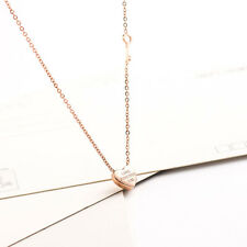 Hot Stainless Steel 14K Rose Gold Key Love Heart Pendant Chain Necklace Jewelry