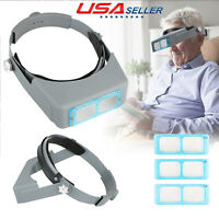 4 Lens Head Band Magnifier Glass Loupe Watch Repair Optivisor Eye Welding Tool