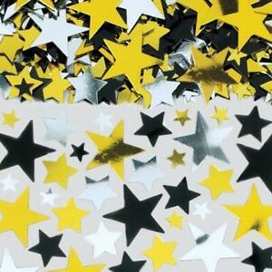 Black, Silver & Gold Big Stars Table Confetti Sprinkles 70g Large Bag