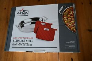 "ALL CLAD STAINLESS STEEL 15"" OVAL ROASTER/BAKER IN ORIG BOX - NEW"
