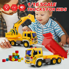 2X Dumping Truck Excavator Construction Diecast Toy Demolition Vehicle Car Gifts