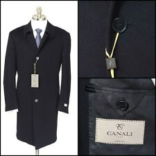 Mens CANALI 1934 Blue Flannel Wool Cashmere 4Btn Over Coat Jacket 56 46 2XL NWT