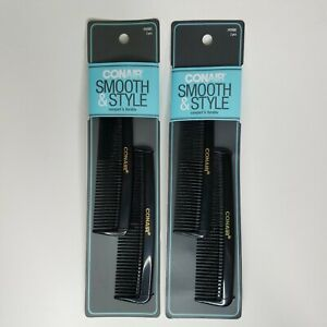 Conair Smooth & Style 2 pc Hard Rubber Pocket Combs Lot of 2 #93500Z