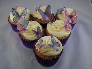 36 Mixed Size Pretty Lilac Mix Butterfly CupCake Toppers Edible Rice Paper