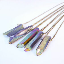 Rainbow Aura Crystal Bullet Stone Necklace-Vintage BRONZE Boho-Quartz Jewellery