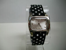 BLACK AND WHITE POLKA DOTS WITH SILVER FACE RIBBON WATCH
