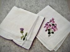 2 vintage hanky handkerchief purple embroidered floral new w/tag
