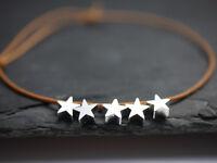 Leder Armband braun mit Sternen silber - echt Leder - Stars - größenverstellbar