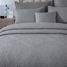 DaDa Bedding Floral Stone Washed Grey Diamond Pattern Coverlet Bedspread Set