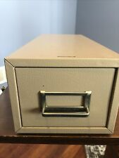 Vintage Buddy Products Metal Drawer File Card Cabinet Textured Tan Made in USA