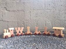 Wooden Name Train Toy Personalised Boy Girl Unisex Newborn Baby Gift Birthday