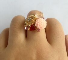 2pcs Free Shipping Crystals Fashion Flower pink Party Rings Jewelry for Women