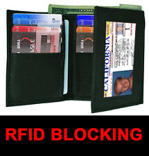 RFID BLOCKING MENS SOFT LEATHER ID WINDOW 12 SLOTS CREDIT CARDS TRIFOLD WALLET