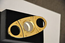 COHIBA Stainless Steel Double Metal Cigar Cutter/Guillotine Golden Gift Box