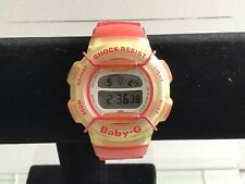 Vintage Casio Baby G Watch BG-212 Clear And Red Case Red Canvas Strap