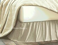 BLACK TICKING STRIPE Queen BEDSKIRT : COUNTRY VINTAGE KENDRA DUST RUFFLE SKIRT