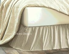 BLACK TICKING STRIPE Queen BEDSKIRT : COUNTRY VINTAGE DUST RUFFLE BED SKIRT