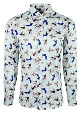 MENS SATIN SHIRT BIRD PRINT FORMAL CASUAL PARTY LONG SLEEVE SHIRT £19.99 (1005)