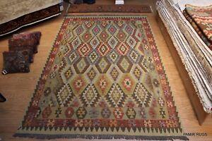 Southwestern style flat woven Kilim Wool Rug 10' X 7' Wool Rug Rust & Brown
