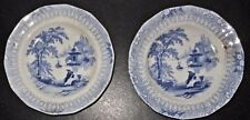 Pair of Antique c1860, Child's Toy Plates, Romantic Transfer Pattern, English
