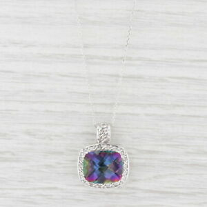"8.70ctw Mystic Topaz Diamond Halo Pendant Necklace 10k Gold 18"" Cable Chain"