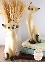 "Vintage 8"" Mid Century Pair Siamese Cat Figurines Japan Ceramic Figures"