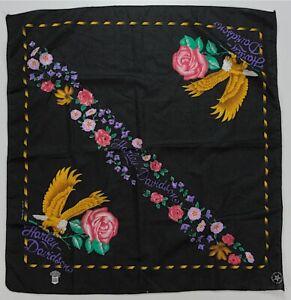 Rare Vintage HARLEY DAVIDSON Eagle Rose Flower Bandana Handkerchief 80s 90s USA