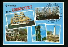 Modern Greetings postcard Stamp Design State of Connecticut CT Lighthouse Ships
