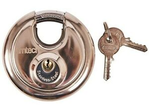 Am-tech W4250 90 mm Disc Padlock - Large Stainless Steel Disc Lock