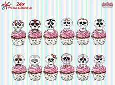 Calaveras de azúcar 24 Stand-Up Taza de papel de oblea de pre-cortado Cake Toppers