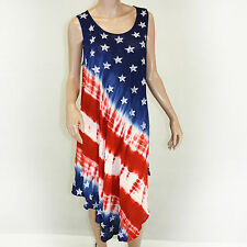 NEW NWT Pam's Advance Apparels Sundress American Flag Dress O/S fits XL, 1X, 2X