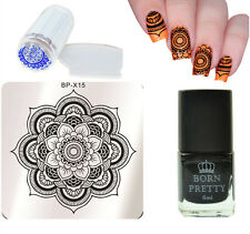 4Pcs/Set Mandala Nail Art Stamp Plate Stamping Polish & Stamper W/Scraper Kit