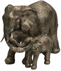 Out Of Africa Jungle Elephant & Baby Figurine Ornament Copper Resin