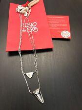 Uno De 50 Silver Necklace Layered Swarovski Pendant - New - Double Fantastic !!